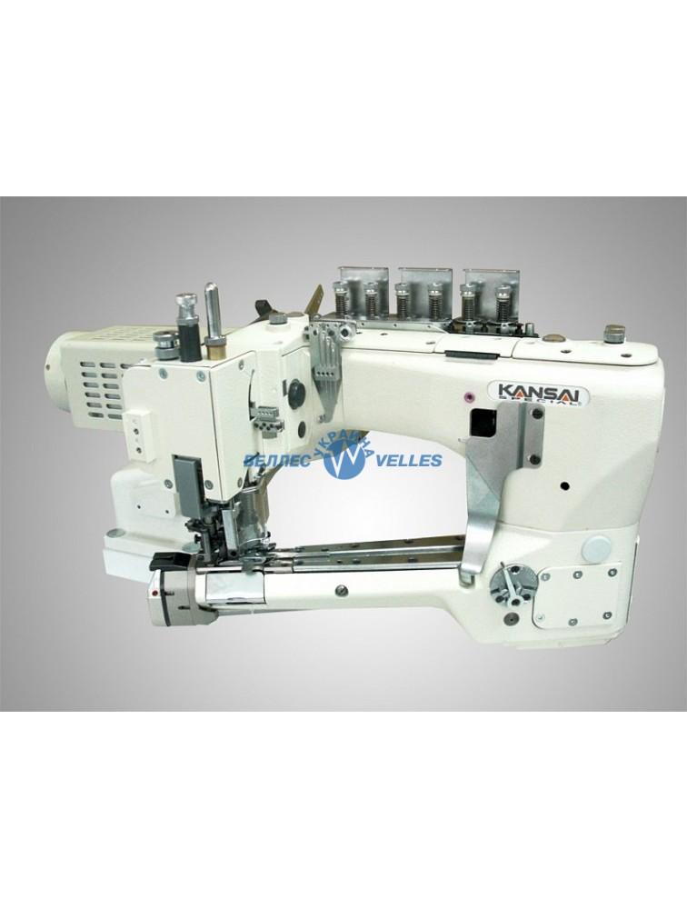 Kansai Special NFS-6604GLM-DD-60/CS-2 Промышленная швейная машина головка+сервомотор для легких и средних материалов c двухсторонней обрезкой, c устройством обрезки цепочки, отсосом обрезки и подъемником лапки.